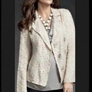 CAbi Chenille Asymmetrical Snap Jacket Blazer Tan
